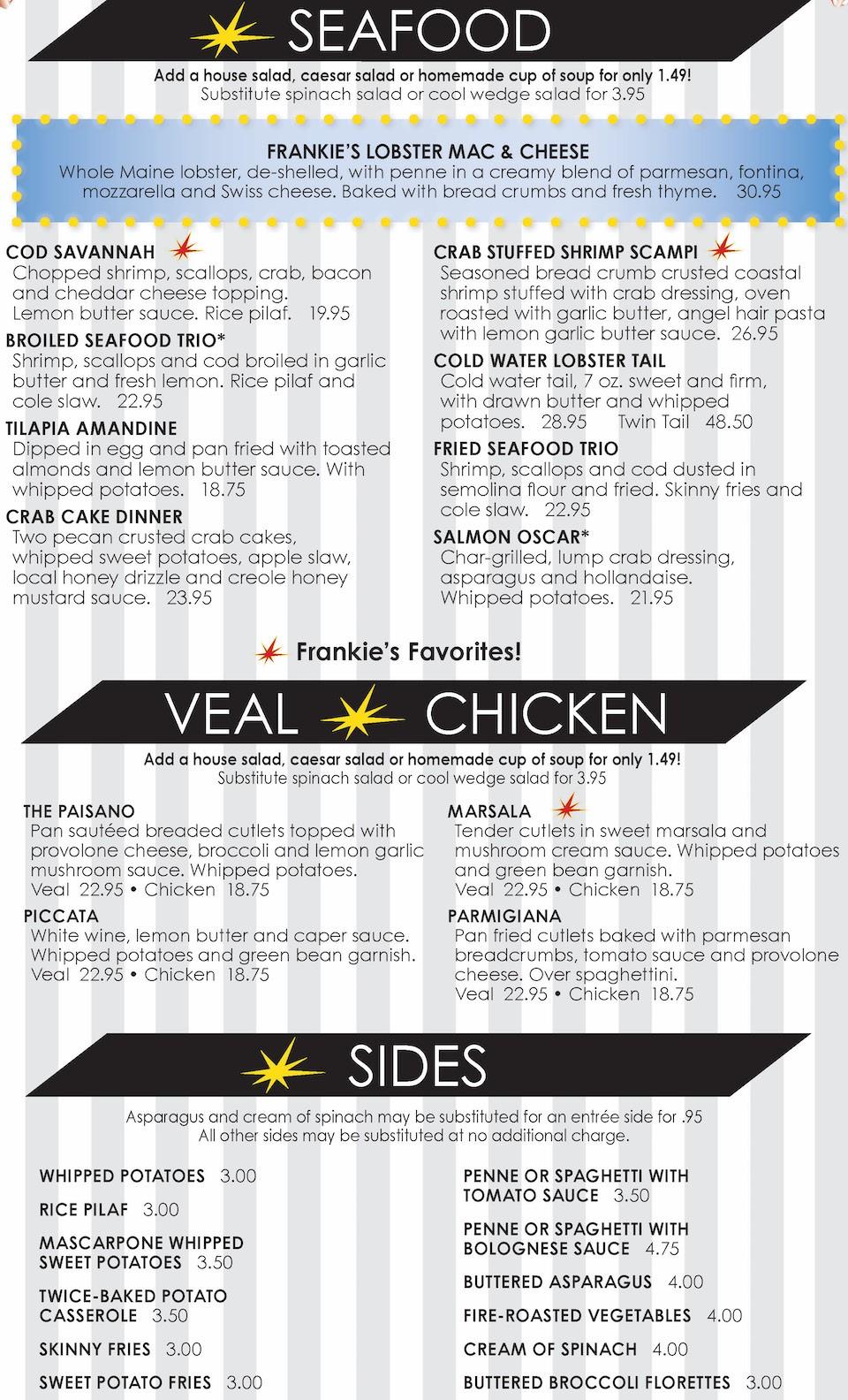 Frankie Bones Menu - Seafood, Veal, Chicken, Sides