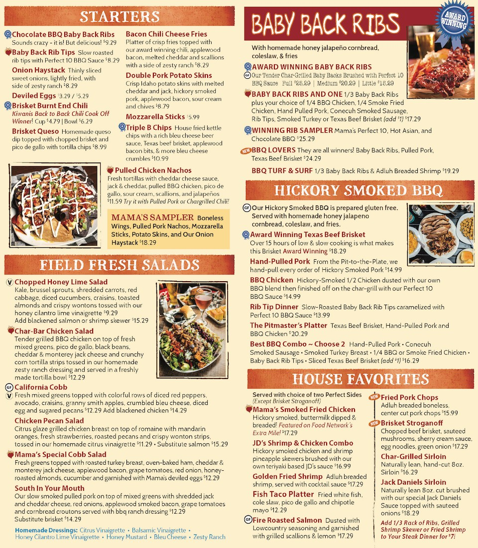 One Hot Mamas Menu - Starters, Salads, Ribs, BBQ, House Favorites