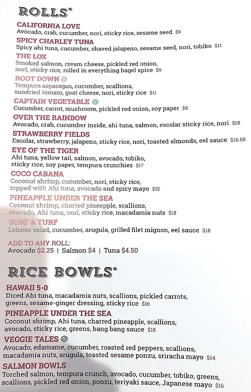 CharBar Sushi and Rice Bowls Menu