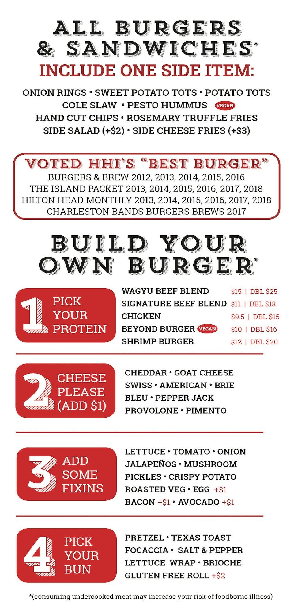 CharBar Menu - Build your own Burger