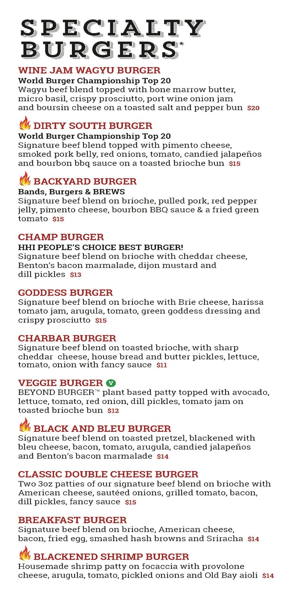 CharBar Menu - Specialty Burgers